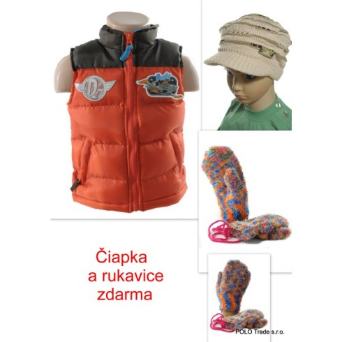 Detská vesta - Planes + čiapka a rukavice zdarma