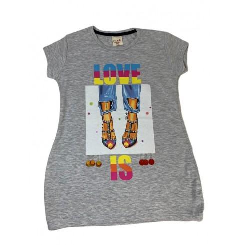 Dievčenské predĺžené tričko Love is