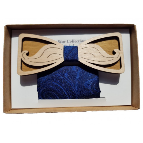 Pánsky drevený motýlik fúzy vyrezávané