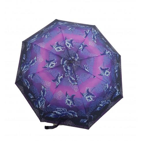 Dáždnik skladací poloautomatický a vetruodolný  ľadový kvet