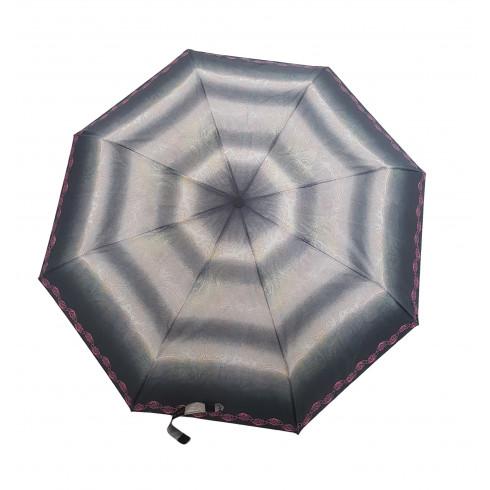 Dáždnik skladací poloautomatický a vetruodolný  ružový lem