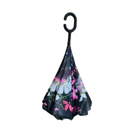 Obrátený dáždnik čierny - kvety 80cm