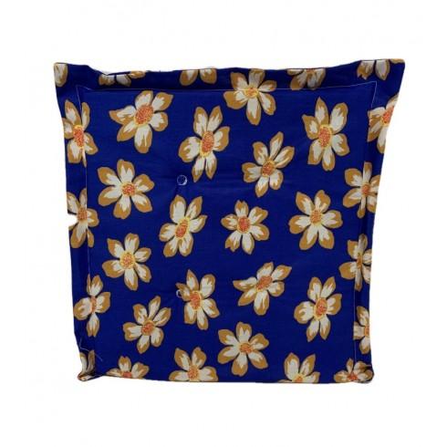 Obojstranný sedák modrý-kvety