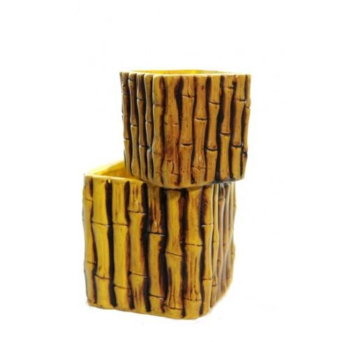 Sada do záhrady - 2 štvorcové kvetináče s bambusovým vzorom