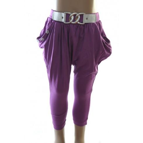 Detské štýlové nohavice s imitáciou opasku.