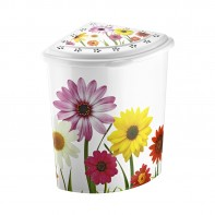 Rohový kôš na prádlo s kvetinami