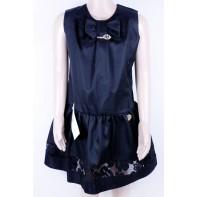 Detské čierne šaty s čipkou
