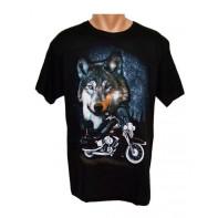 Tričko - vlk a motorka
