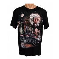 Tričko - Indián motorka vlk