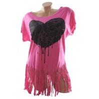 Dámske tričko - srdce,so strapcami na spodku