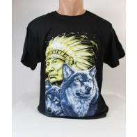 Pánske obojstranné tričko PoloTrade Indián s vlkmi