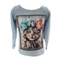 Dievčenské tričko mačka s čelenkou