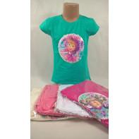 Dievčenské tričko - preklápacie flitre Máša 110*128