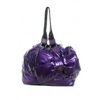 Dámska lesklá kabelka s mašľou - čierna