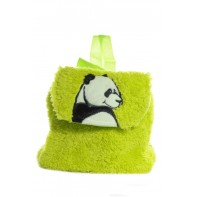 Detský mini ruksak chlpatý - panda, 0.5L