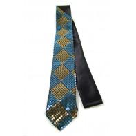 Úzka kravata - žlté flitre