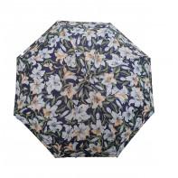 Dáždnik skladací poloautomatický a vetruodolný kvietky biele