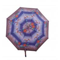 Dáždnik skladací poloautomatický a vetruodolný oranžový kvet