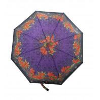 Dáždnik skladací poloautomatický a vetruodolný červený kvet a čierny lem