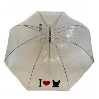 Dáždnik veľký pevný, poloautomatický, priehadný I Love Dog
