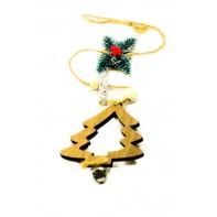 Vianočná dekorácia - drevený stromček na šnúrke s rolničkou