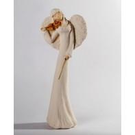Anjel sádrový husle 38 cm