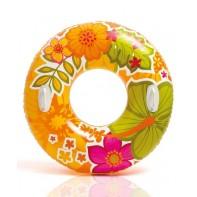 Plávacie koleso Intex s držiakmi 91cm, vzor listy a kvety