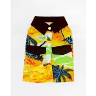 Havajská košeľa pre psíka, žltá, čierne detaily