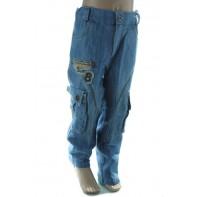 Detské riflové nohavice s nášivkou