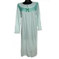 Dámska nočná košeľa dlhý rukáv mašlička