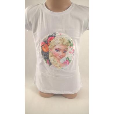 Dievčenské tričko Frozen - preklápacie flitre 110*128