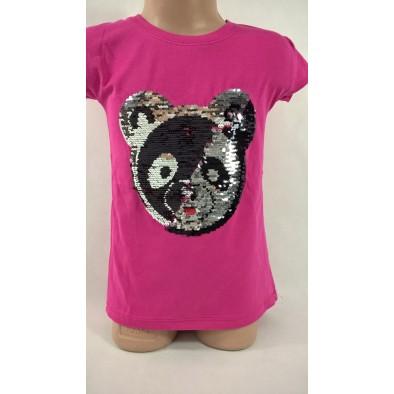 Dievčenské tričko s flitrami - panda