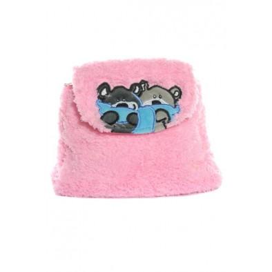 Detský mini ruksak chlpatý - mackovia so šálom, 0.5L