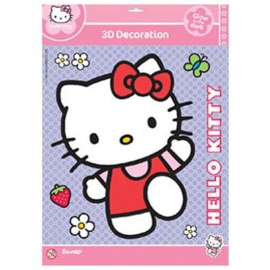 Samolepka 3D Hello Kitty 25x20cm glow in the dark